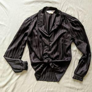 Satiny Black 80's Blouse